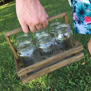 Combo Vasos :: 6 vasos reciclados + Cajón de madera