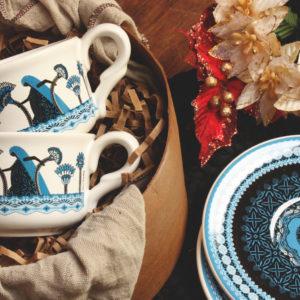 Combo :: 2 Tazas de té + 2 Platos de té + Caja Regalo ::LV