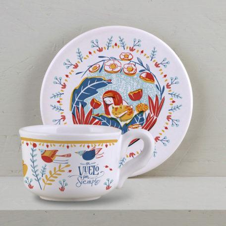 Taza y plato de te ilustrado por Ana Sanfelippo